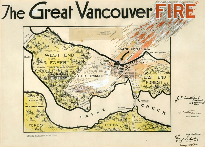The Great Vancouver Fire. 1932, James Skitt Matthews.   Vancouver best known for