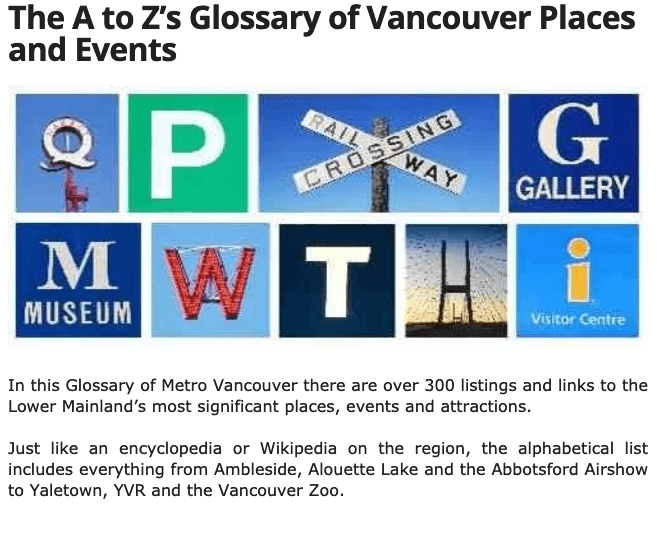 Vancouver Staycation Guide - A - Z listing of events and places to check out