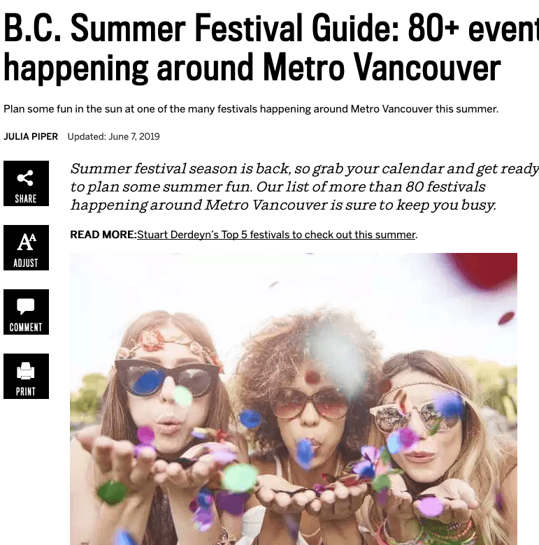 Summer Vancouver Staycation Guide - so many festivals!