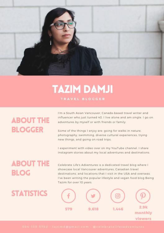 Tazim Damji Vancouver Travel Blogger Media Kit